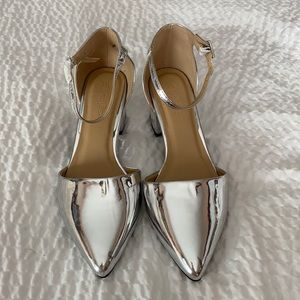 Simply Be Silver Block Heel Size 8